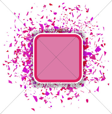 Vector Pink Confetti Banner Isolated On White Background. Set Of Particles Stock Photo