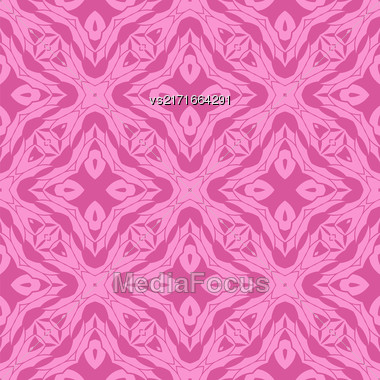 Vector Pink Ornamental Seamless Line Pattern. Endless Texture. Oriental Geometric Ornament Stock Photo