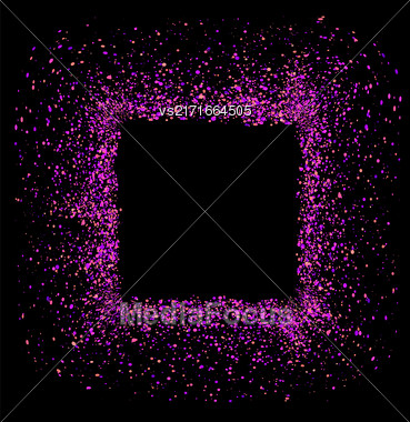 Vector Pink Square Frame Isolated On Black Background Stock Photo