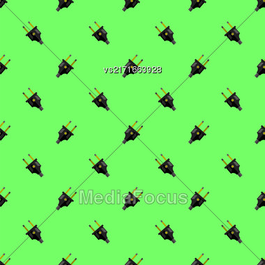 Vector Power Plug Seamless Pattern On Green Background Stock Photo