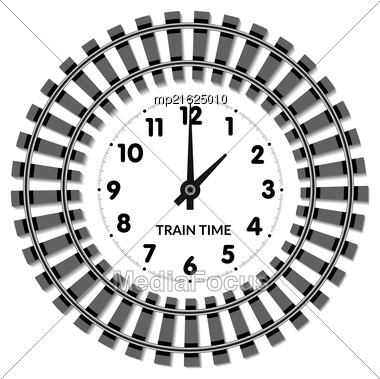 Vector Railway Clocks. The Concept Of The Schedule Time Of Arrival And Departure Of Trains Stock Photo