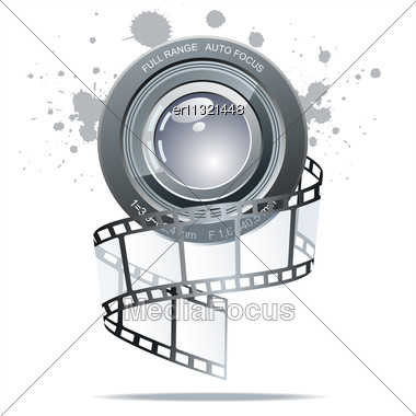 Vector Realistic 3d Film Reel Stock Photo