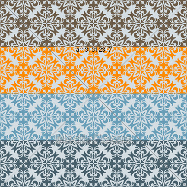 Seamless Floral Borders, Differect Colors, Seamless Patterns In Swatch Menu Stock Photo