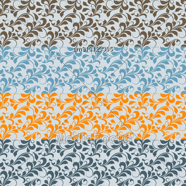 Seamless Floral Borders, Different Colors, Patterns In Swatch Menu Stock Photo