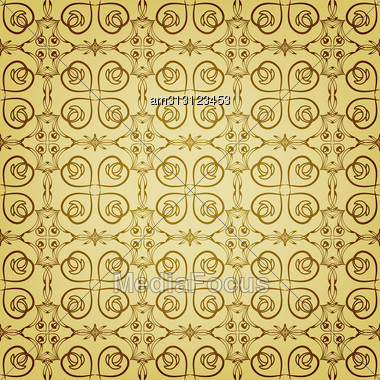 Seamless Floral Golden Pattern, Can Be Used As Backgrounds, Patterns, Wrapping Paper, Eps 10, Gradient Mesh Stock Photo