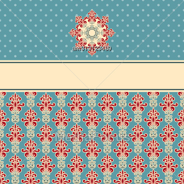 Seamless Floral Wallpaper Pattern On Gradient Background, Fully Editable Eps 8 File,seamless Patterns In Swatch Menu Stock Photo