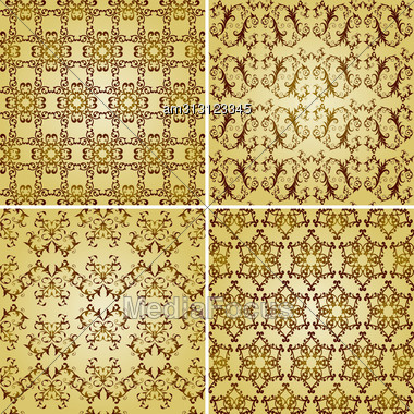 Seamless Golden Patterns, Oriental Style, Can Be Used As Patterns, Wrapping Paper, Fully Editable Eps 8 8, Seamless Patterns In Plain Colours In Swatch Menu Stock Photo