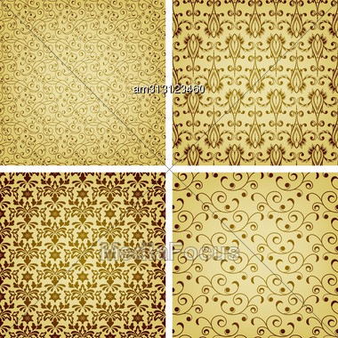 Seamless Golden Patterns, Oriental Style, Can Be Used As Patterns, Wrapping Paper, Fully Editable Eps 10 File With Clipping Masks, Seamless Patterns In Swatch Menu, Eps 10 Transparency And Mesh Stock Photo