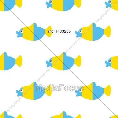 Vector Seamless Patte With Fishesrn, Fully Editable Eps 8 File With Clipping Masks And Pattern In Swatch Menu Stock Photo