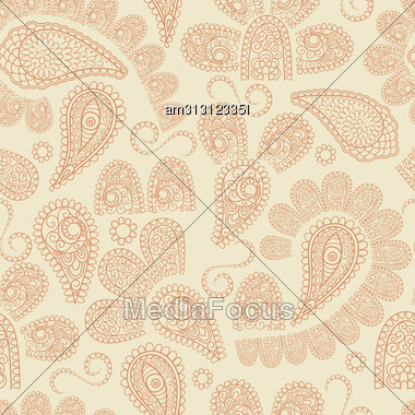 Seamless Pattern With Highly Detailed Paisley Elements, Indian Oriental Style, Fully Editable Eps 8 File With Clipping Masks And Pattern In Swatch Menu Stock Photo