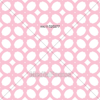Vector Seamless Pattern With Pink Elements. Elegant Pastel Texture For Wallpapers, Backgrounds And Other Designs Stock Photo