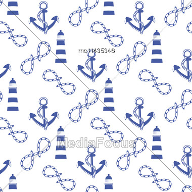 Vector Seamless Pattern With Sea Elements: Lighthouse, Anchor, Rope. Can Be Used For Wallpapers, Web Page Backgrounds, Greeting Card, Textile And More Stock Photo