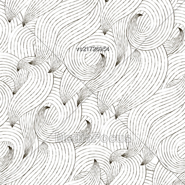 Vector Seamless Wave Hand-drawn Pattern. Random Striped Texture Stock Photo