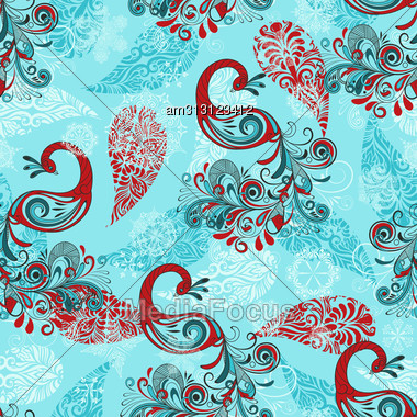 Seamless Winter Pattern With Stylized Peacocks And Snowflakes Stock Photo