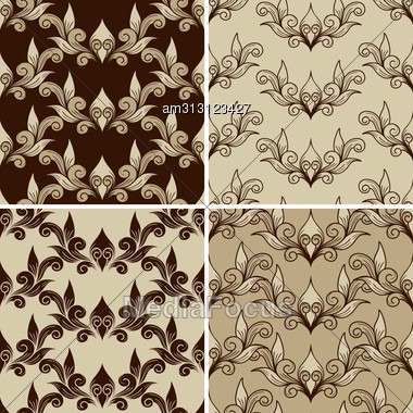 Set Of 4 Seamless Vintage Patterns. Fully Editable Eps 8 File With Clipping Masks,patterns In Swatch Menu, Can Be Used As Pattern, Wallpaper, Textile, Wrapping Paper Or Background, Easy To Chan Stock Photo