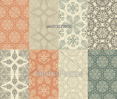 Set Of 8 Seamless Winter Patterns With Snowflakes Fully Editable Eps 8 File, Seamless Patterns In Swatch Menu Stock Photo