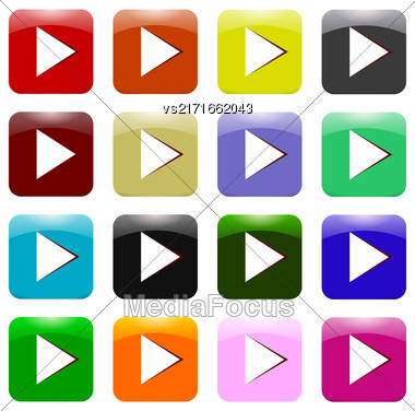 Vector Set Of Colorful Play Icons Isolated On White Background. Glossy Colored Play Buttons Stock Photo