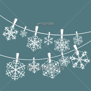 Vector Set Of Snowflakes Background Stock Photo