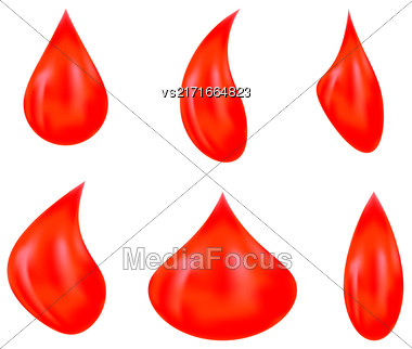 Vector Set Of Red Blood Drops Isolated On White Background Stock Photo