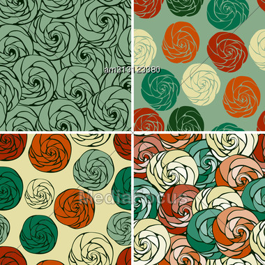 Set Of Seamless Patterns With Abstract Roses,eps 8 Fully Editable Files With Clipping Masks, Patterns In Swatch Menu Stock Photo