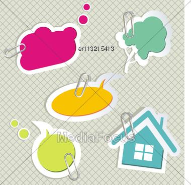 Vector Set Of Speech Bubbles & Scrapbook Elements Stock Photo