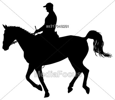 Vector Silhouette Of Horse And Jockey Stock Photo