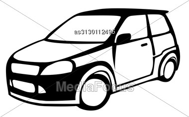 Silhouette Of The Car Against Stock Photo