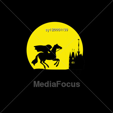 Silhouette Of The Rider Without Head On Yellow Background Stock Photo