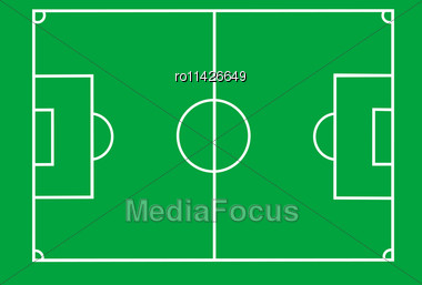 Vector Soccer Field With Lines On Green Stock Photo