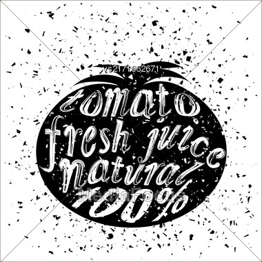 Vector Tomato Icon Typography Design On White Grunge Background. Vintage Vegetable Poster, Banner, Logo Or Label With Lettering Stock Photo