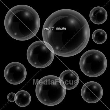 Vector Transparent Soap Bubbles Isolated On Black Background Stock Photo