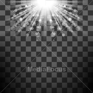 Vector Transparent Sun Light On Checkered Background. Shiny Sunburst Of Sunbeams Stock Photo