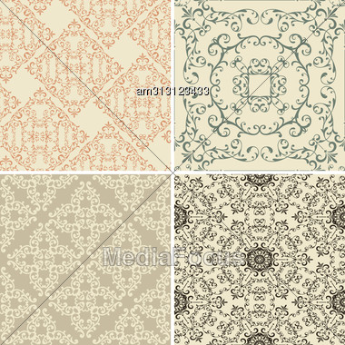 Vintage Floral Seamless Patterns Stock Photo