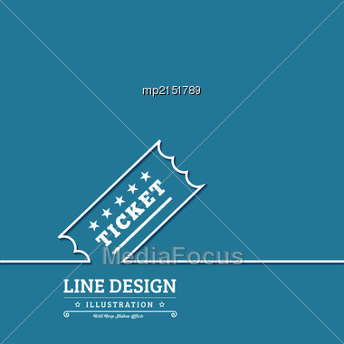 Vector Vintage Ticket Tag Outline Thin Symbol On Blue Background Stock Photo