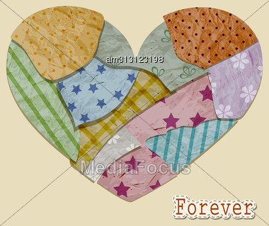 """Vintage Valentines' Greeting Card With Heart Made Of Crumpled Pieces Of Paper And """"forever"""", Fully Editable Eps10 Layered File With Transparency Effects, Standart AI Font """"prestige Elite Std Bo Stock Photo"""