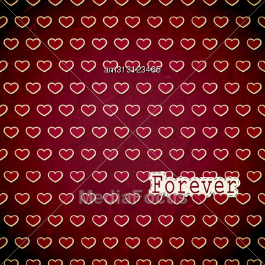 """Vintage Valentines' Greeting Card With Hearts And """"forever"""", On Red Old Crumpled Paper, Fully Editable Eps10 Layered File With Transparency Effects, Clipping Mask, Background Can Be Used Separa Stock Photo"""