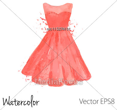 Vector Watercolor Painted Red Dress Stock Photo