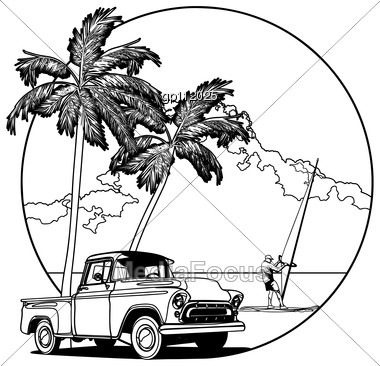 Vectorial Bw Round Vignette With Yellow Old-fashioned Pickup And Two Palms On Sky And Sea Background. Image Is One Curve. Stock Photo