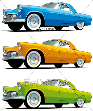 Vectorial Icon Set Of American Old-fashioned Cars Stock Photo