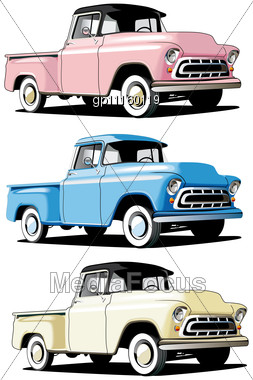 Vectorial Icon Set Of American Retro Pickups Stock Photo