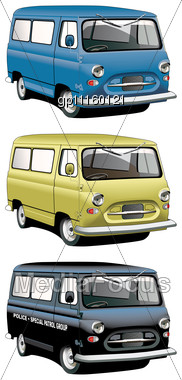 Vectorial Icon Set Of English Old-fashioned Vans With Right-side Steering Wheel Stock Photo