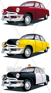 Vectorial Icon Set Of Old-fashioned American Cars Stock Photo