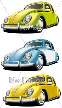 Icon Set Of Old-fashioned Cars Stock Photo