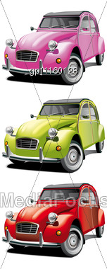 Icon Set Of Old Little Cars Stock Photo