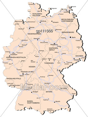 Stock Photo Map Germany Provinces Railway No Gradients Image - Germany map provinces