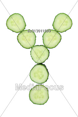 Vegetable Alphabet Of Chopped Cucumber - Letter Y Stock Photo