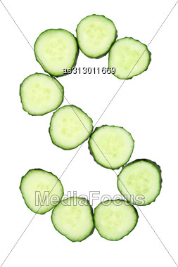 Vegetable Alphabet Of Chopped Cucumber - Letter S Stock Photo