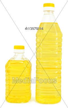 Vegetable Oil In Two Bottles Stock Photo