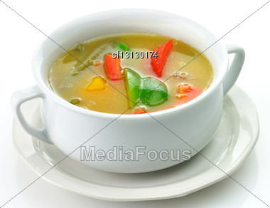 Vegetable Soup In A White Soup Cup Stock Photo