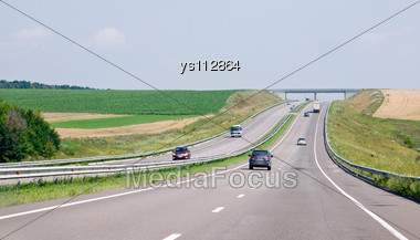 Vehicles Go On The Highway Stock Photo